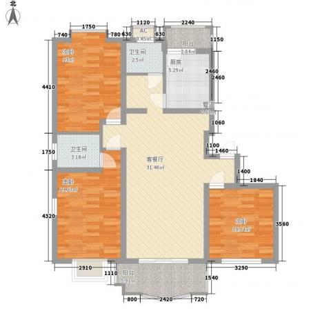 冠生园东方佳苑3室1厅2卫1厨123.00㎡户型图