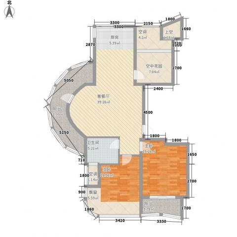 金世纪铭城豪庭2室1厅1卫0厨104.89㎡户型图