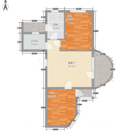 热岛黄金海岸2室1厅1卫1厨88.00㎡户型图