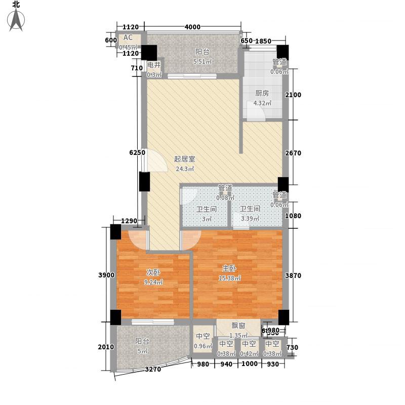悦港花园3期8.60㎡11#楼07单元户型2室2厅2卫1厨