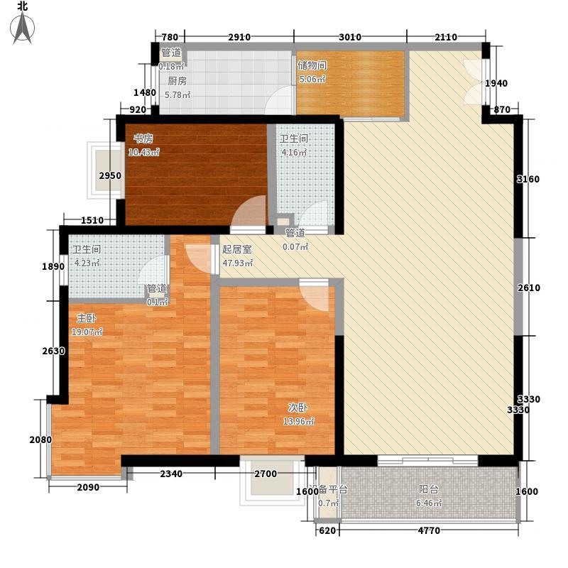 万盛名仕佳园164.47㎡A-6户型3室2厅2卫1厨