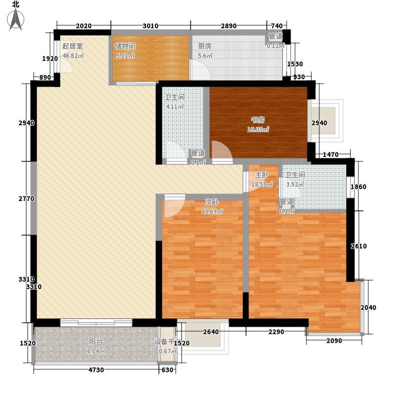 万盛名仕佳园164.47㎡A-5户型3室2厅2卫1厨