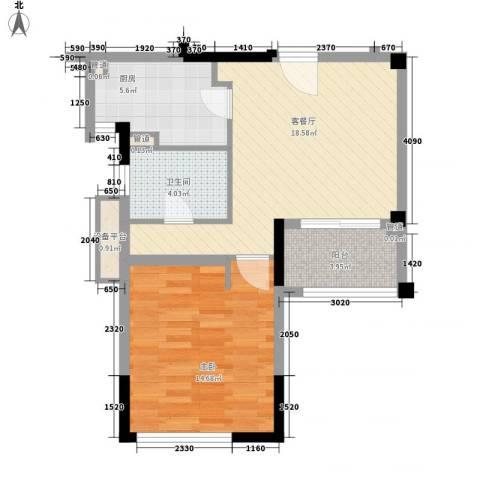 华辰国际1室1厅1卫1厨47.95㎡户型图