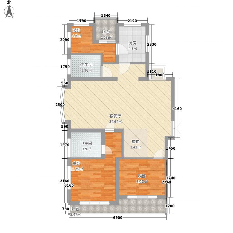 香榭丽花园114.63㎡上海户型2室2厅2卫1厨