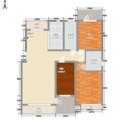 亿锋现代城3室1厅2卫1厨142.00㎡户型图
