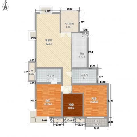 荣御原上园3室1厅2卫1厨146.00㎡户型图