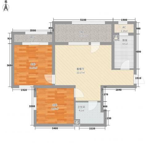 新湖青蓝国际2室1厅1卫1厨84.00㎡户型图