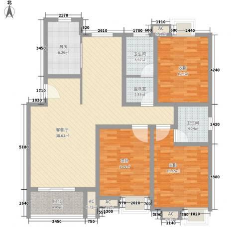 高新二路物业宿舍3室1厅2卫1厨118.00㎡户型图