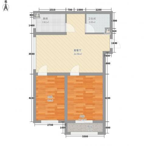新湖青蓝国际2室1厅1卫1厨78.00㎡户型图