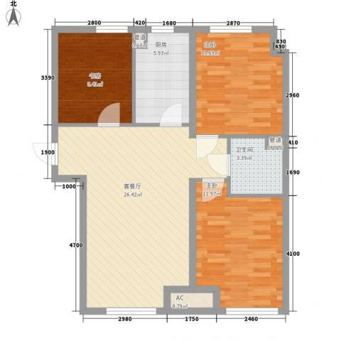 新湖青蓝国际3室1厅1卫1厨95.00㎡户型图