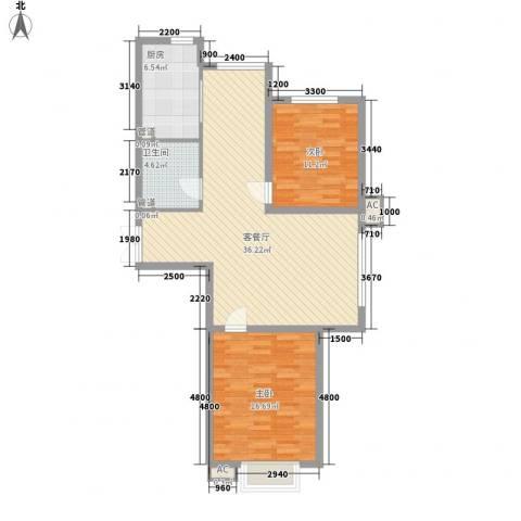 盛华苑2室1厅1卫1厨115.00㎡户型图