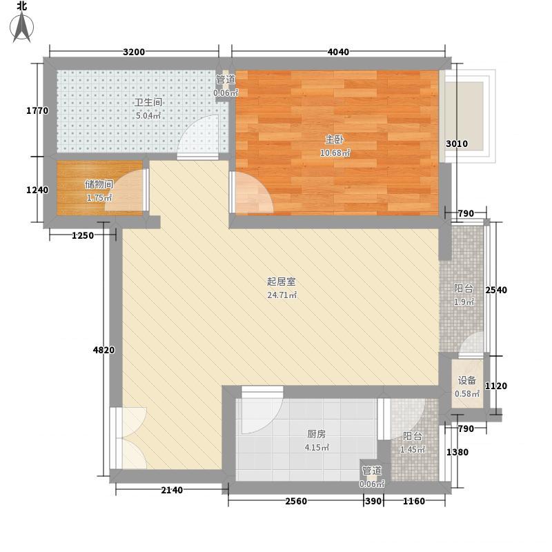 金隅凤麟洲69.00㎡2#1D'户型1室2厅1卫1厨