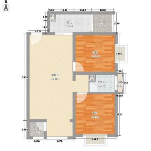 紫薇臻品2室1厅1卫1厨95.00㎡户型图