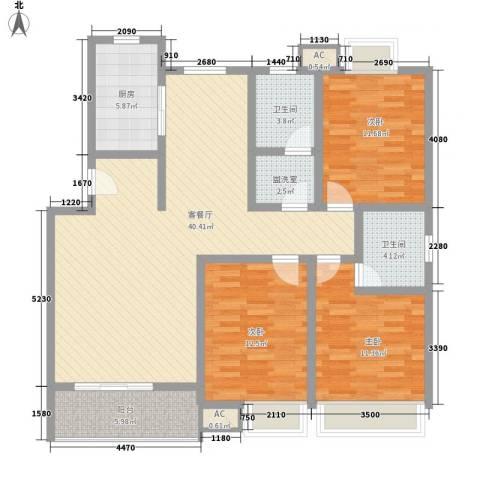 江山大厦3室1厅2卫1厨143.00㎡户型图