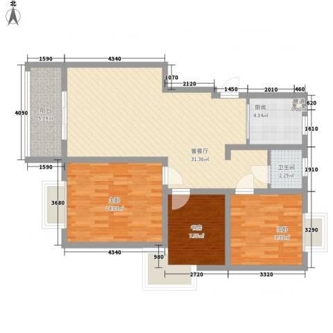 善景园3室1厅1卫1厨85.60㎡户型图