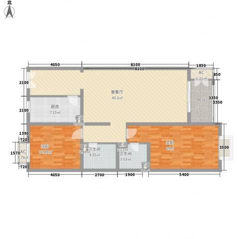 远洋德邑2室1厅2卫1厨131.00㎡户型图