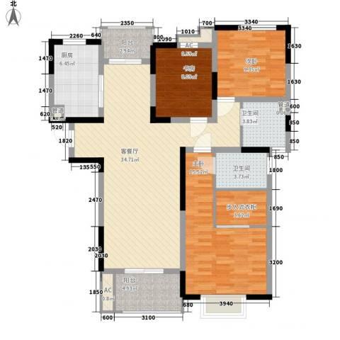 善景园3室1厅2卫1厨110.00㎡户型图