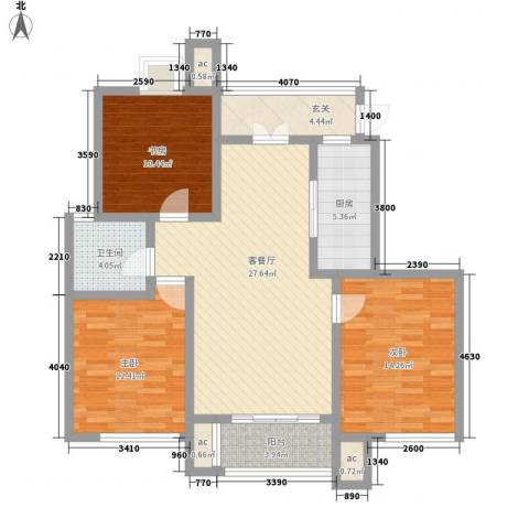 凯运天地水岸华邑3室1厅1卫1厨124.00㎡户型图
