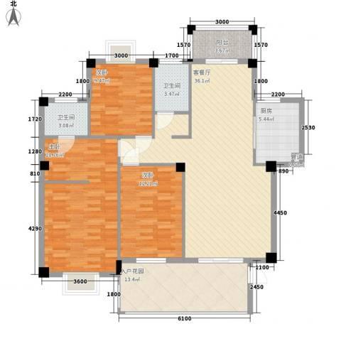 凤凰商贸城3室1厅2卫1厨150.00㎡户型图