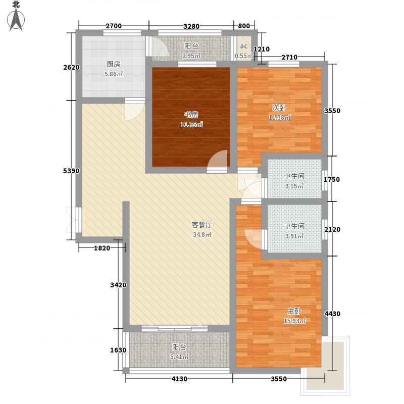 新元绿洲135.08㎡6号楼B-2-3户型3室2厅2卫1厨