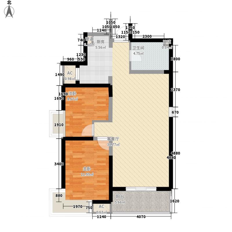 安宁庭院102.47㎡18#楼H2-1户型2室2厅1卫1厨