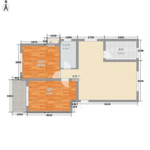 丽和阳光城2室1厅1卫1厨98.00㎡户型图