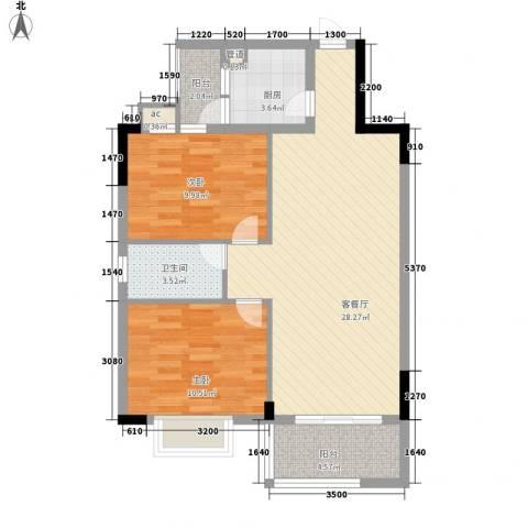 银丰花园2室1厅1卫1厨72.00㎡户型图