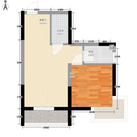 溪湖芳庭1室1厅1卫1厨57.00㎡户型图