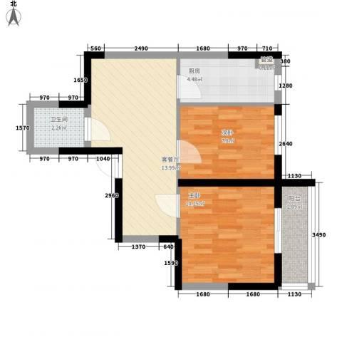 溪湖芳庭2室1厅1卫1厨58.00㎡户型图