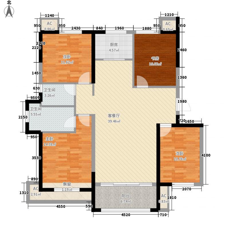 金山壹号144.00㎡一期8号楼C3户型4室2厅2卫1厨