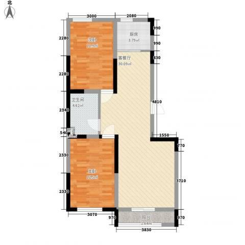 溪湖芳庭2室1厅1卫1厨91.00㎡户型图