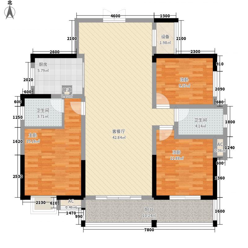时代云龙城13.70㎡5栋03户型3室2厅2卫1厨
