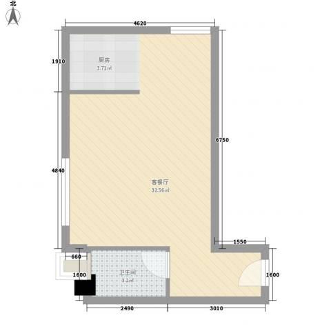 领先时代广场1厅1卫0厨50.00㎡户型图