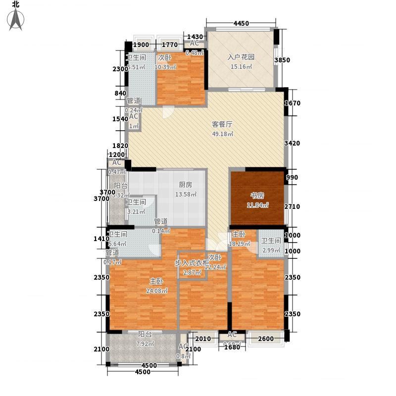 裕通花园221.00㎡西区10幢标准层02户型4室2厅4卫1厨