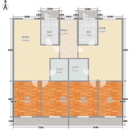 利海公寓3室1厅2卫2厨184.39㎡户型图