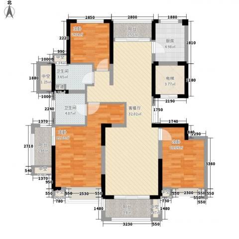 华侨城欢乐海岸3室1厅2卫1厨138.00㎡户型图