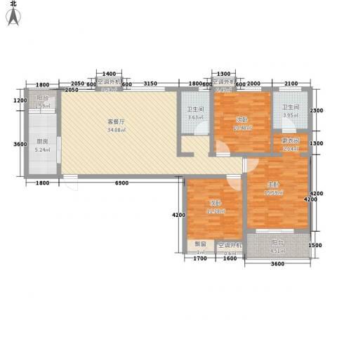 星辰花园3室1厅2卫1厨133.00㎡户型图