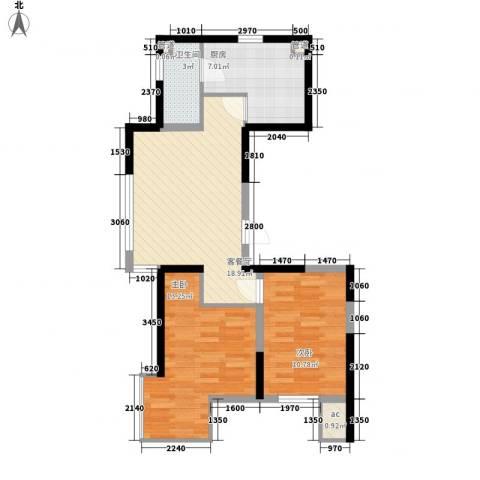 溪湖芳庭2室1厅1卫1厨76.00㎡户型图