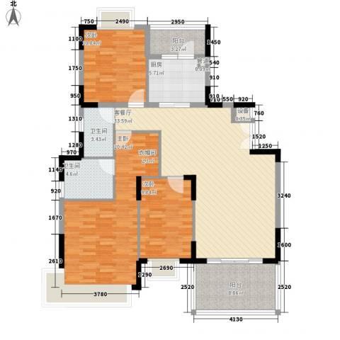大信海岸家园3室1厅2卫1厨144.00㎡户型图