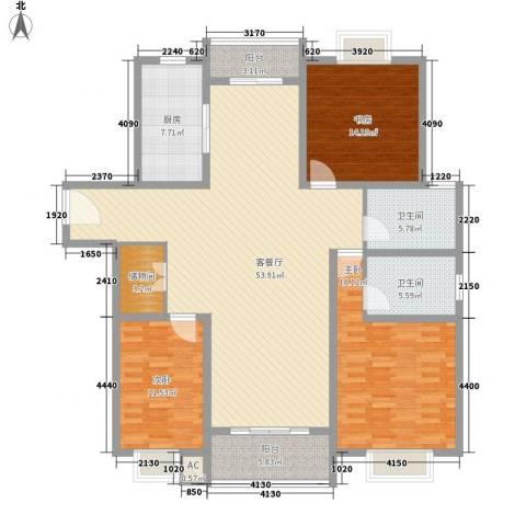 阳光四季园3室1厅2卫1厨184.00㎡户型图