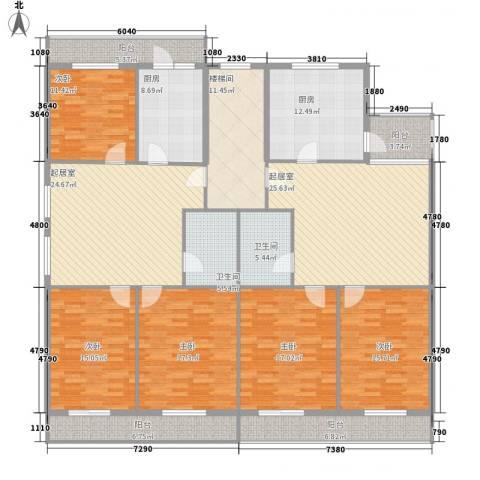 利海公寓5室0厅2卫2厨193.09㎡户型图