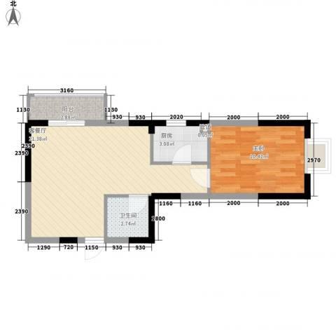 溪湖芳庭1室1厅1卫1厨58.00㎡户型图