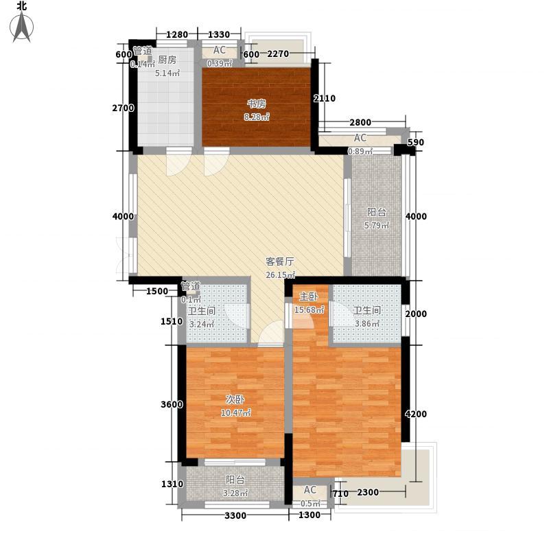 中大云锦93.00㎡一期高层A户型3室2厅1卫1厨