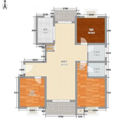 阳光四季园3室1厅2卫1厨137.00㎡户型图