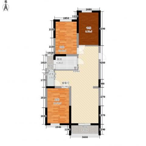溪湖芳庭3室1厅1卫1厨101.00㎡户型图