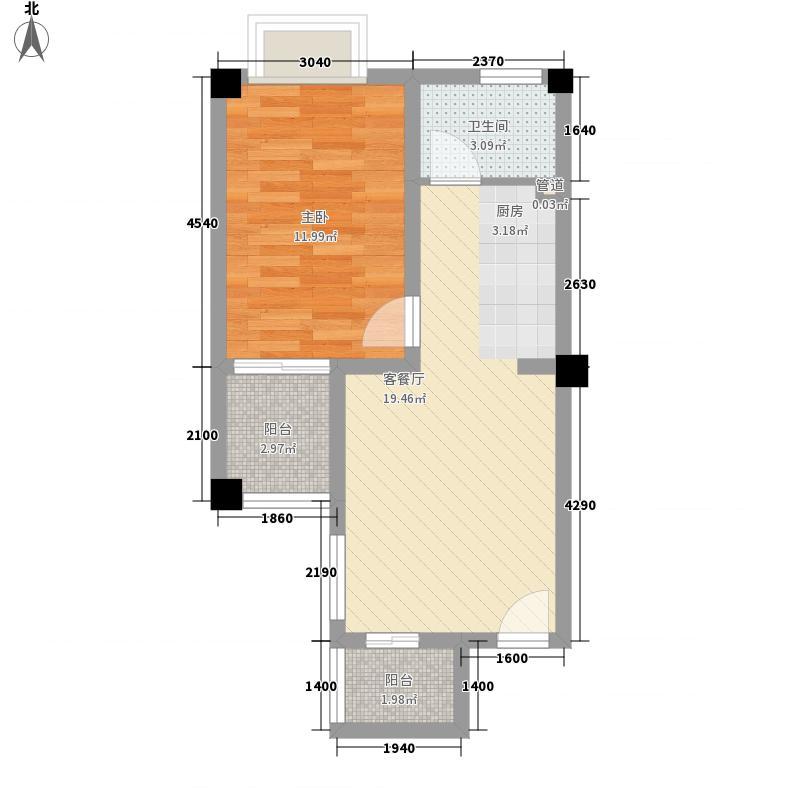 永惠山外山57.60㎡永惠山外山户型图米兰广场B5户型1室1厅1卫1厨户型1室1厅1卫1厨