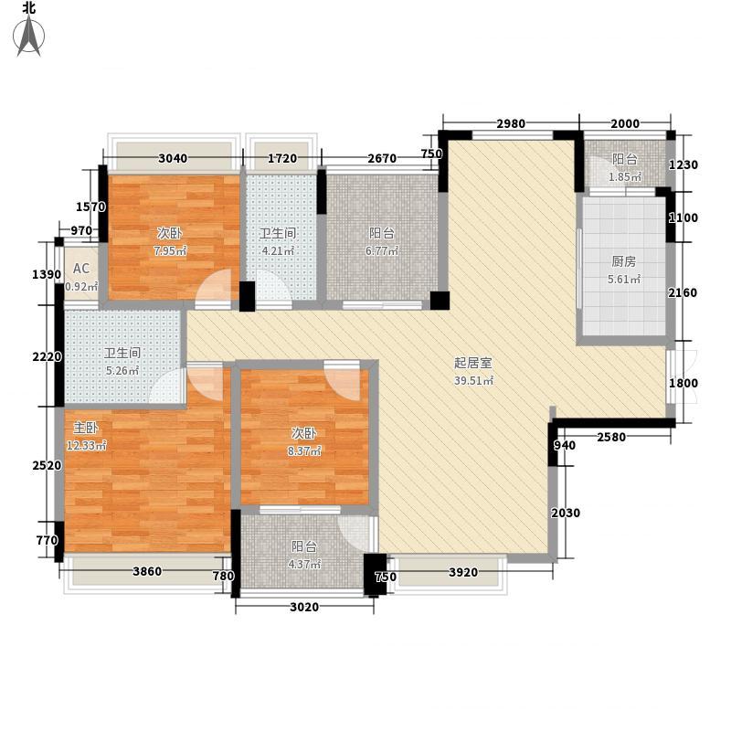 汇荣桂林桂林12.00㎡C户型3室2厅2卫1厨