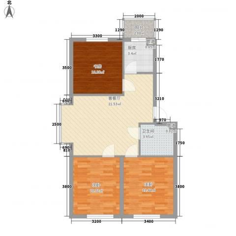 美印雅苑3室1厅1卫1厨81.00㎡户型图