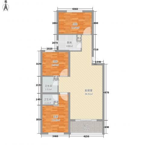 中央峰景B区3室0厅2卫1厨123.00㎡户型图