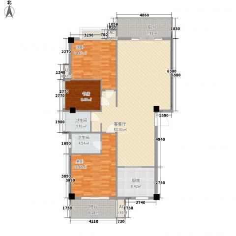 紫荆花园3室1厅2卫1厨123.42㎡户型图